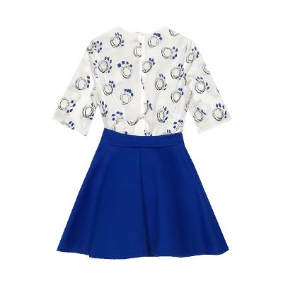 ring patterned blouse & side pocket flare skirt